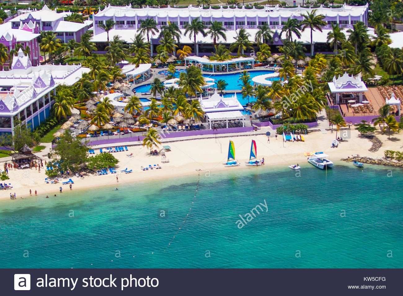 An aerial view of the Sandals Resort on the north coast of Jamaica, near Montego Bay. - Stock Image