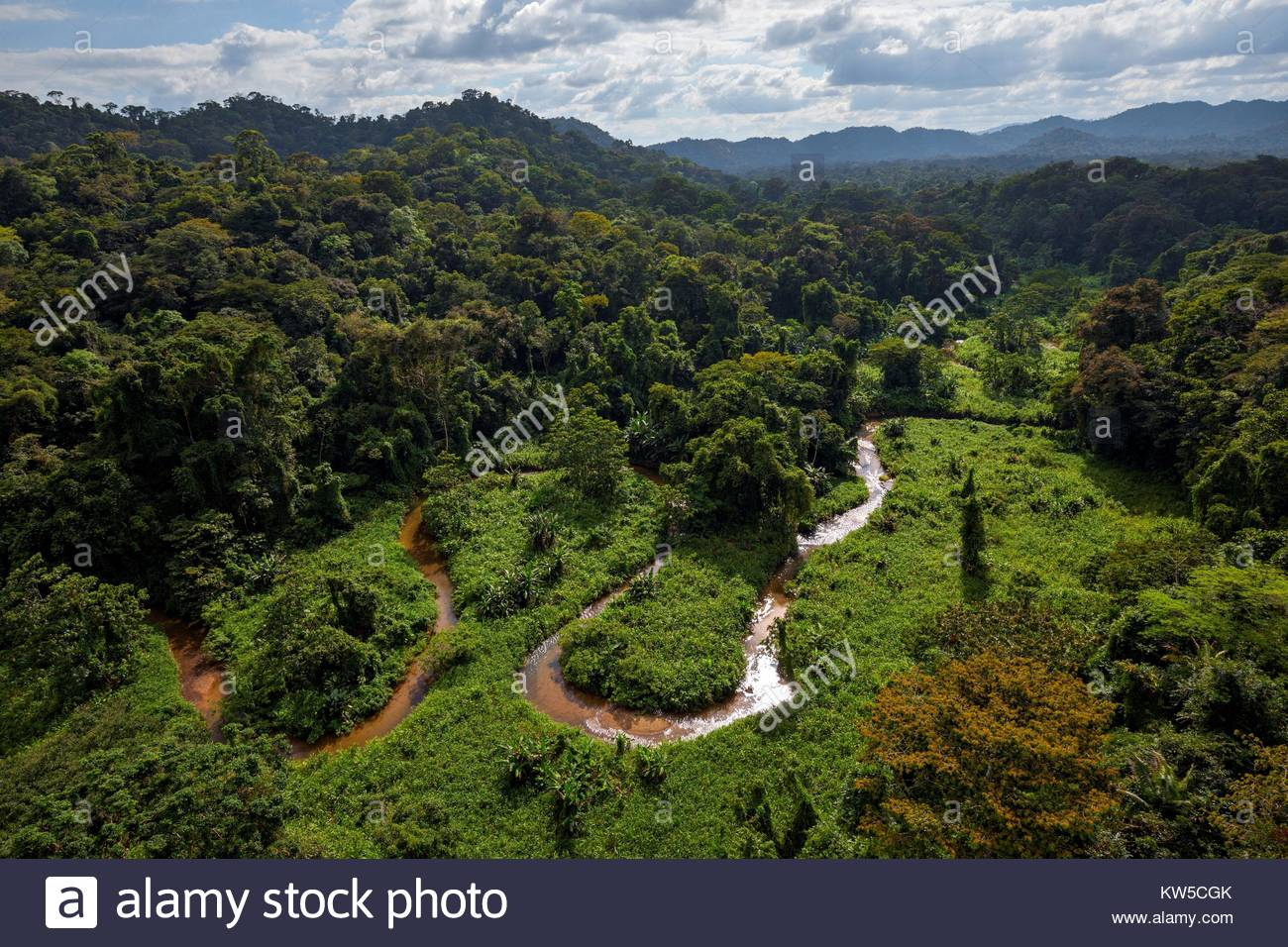The valley in the Mosquitia jungle hiding the remains of an ancient lost city. - Stock Image