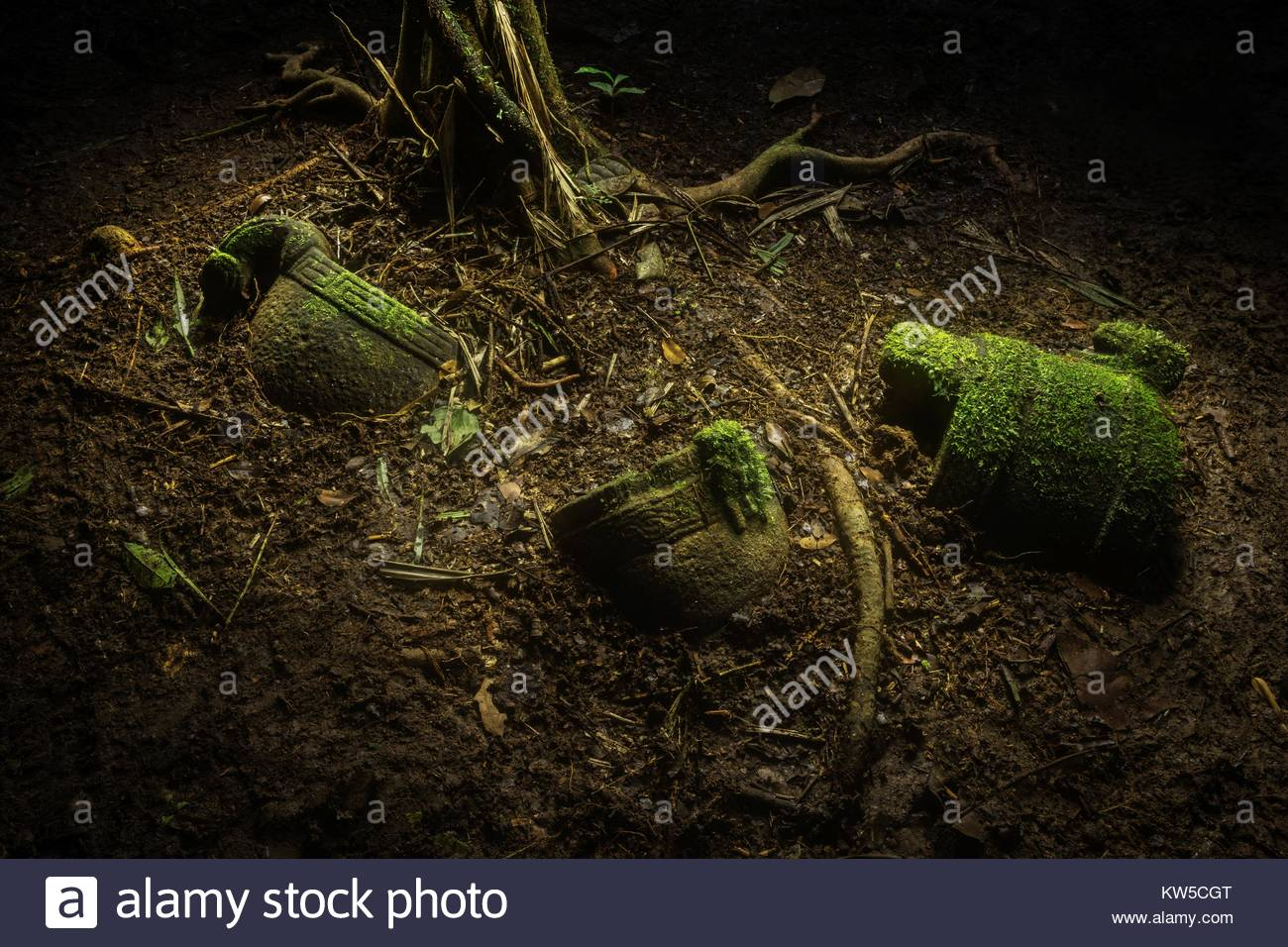 In the ruins of a pre-Colombian city, archaeologists discovered a cache of stone objects, possibly left as an offering. - Stock Image