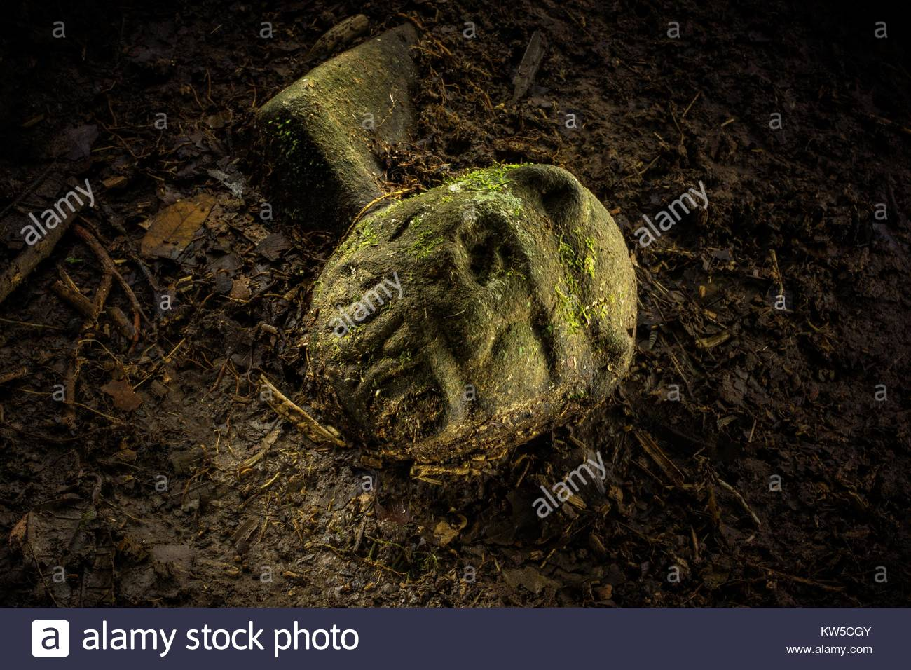 An artifact with a carved face, part jaguar, part human, about the size of a fist. - Stock Image
