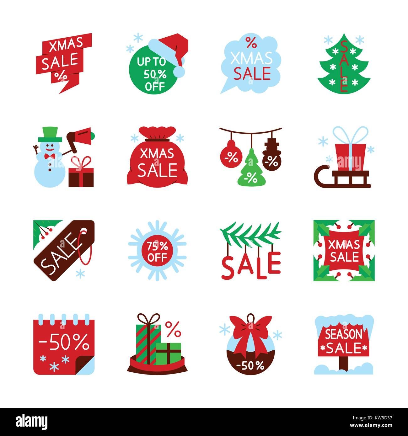 colorful season christmas sale icon set new year flat style clearance concept collection xmas color web card print office business banner label