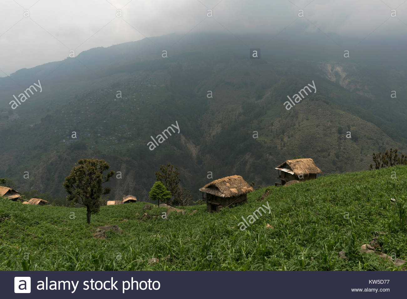 Built structures on a remote hill. - Stock Image