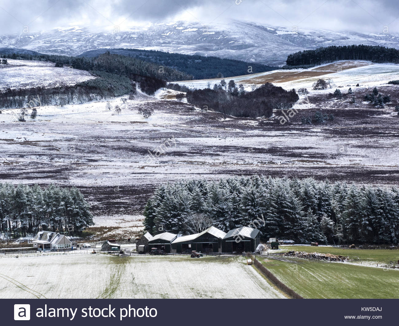 Snow on the Cairngorm Mountains of Scotland. - Stock Image
