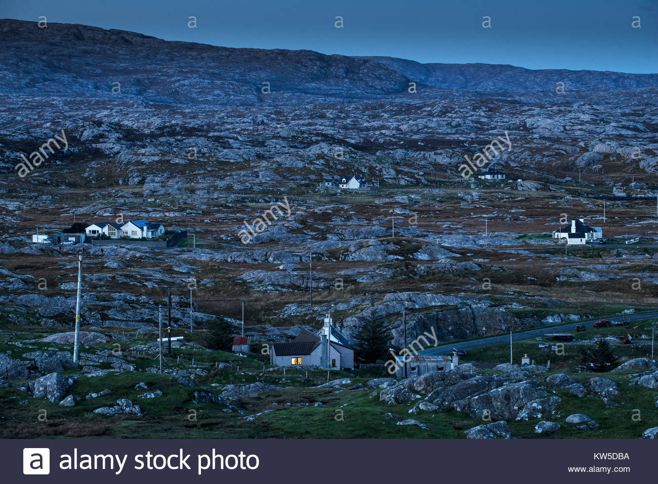 Tenant farms on the rugged east coast of the Isle of Harris, Scotland. - Stock Image