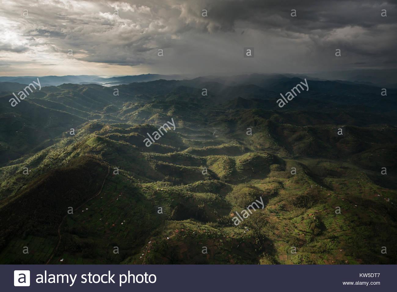 Aerial view of habitat in northern Rwanda. - Stock Image