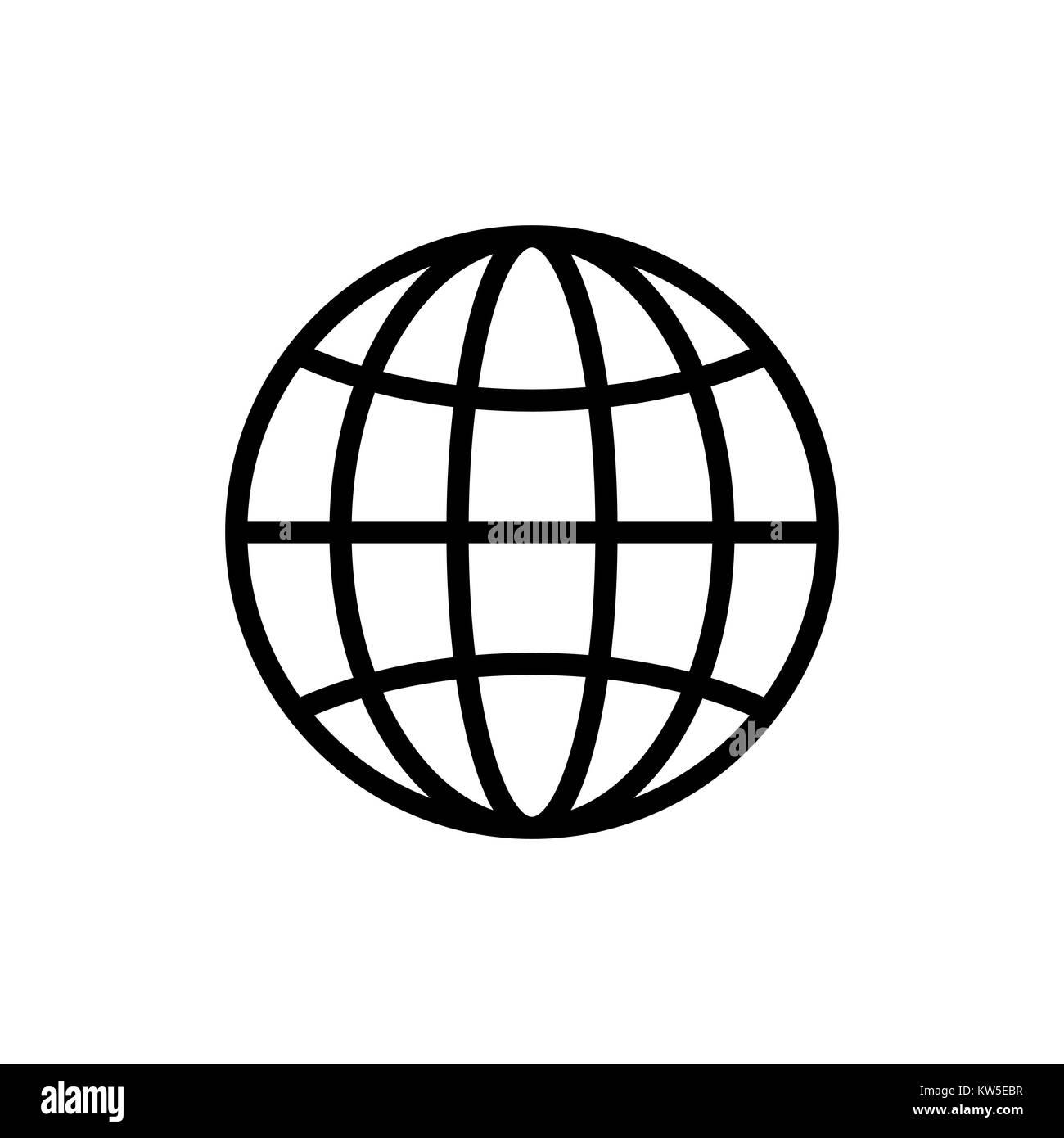 Earth icon isolated isolated on white background - Stock Image