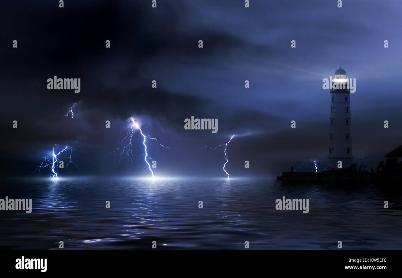 lighthouse in a storm. Thunderstorm over the sea, lightning beats the water Stock Photo