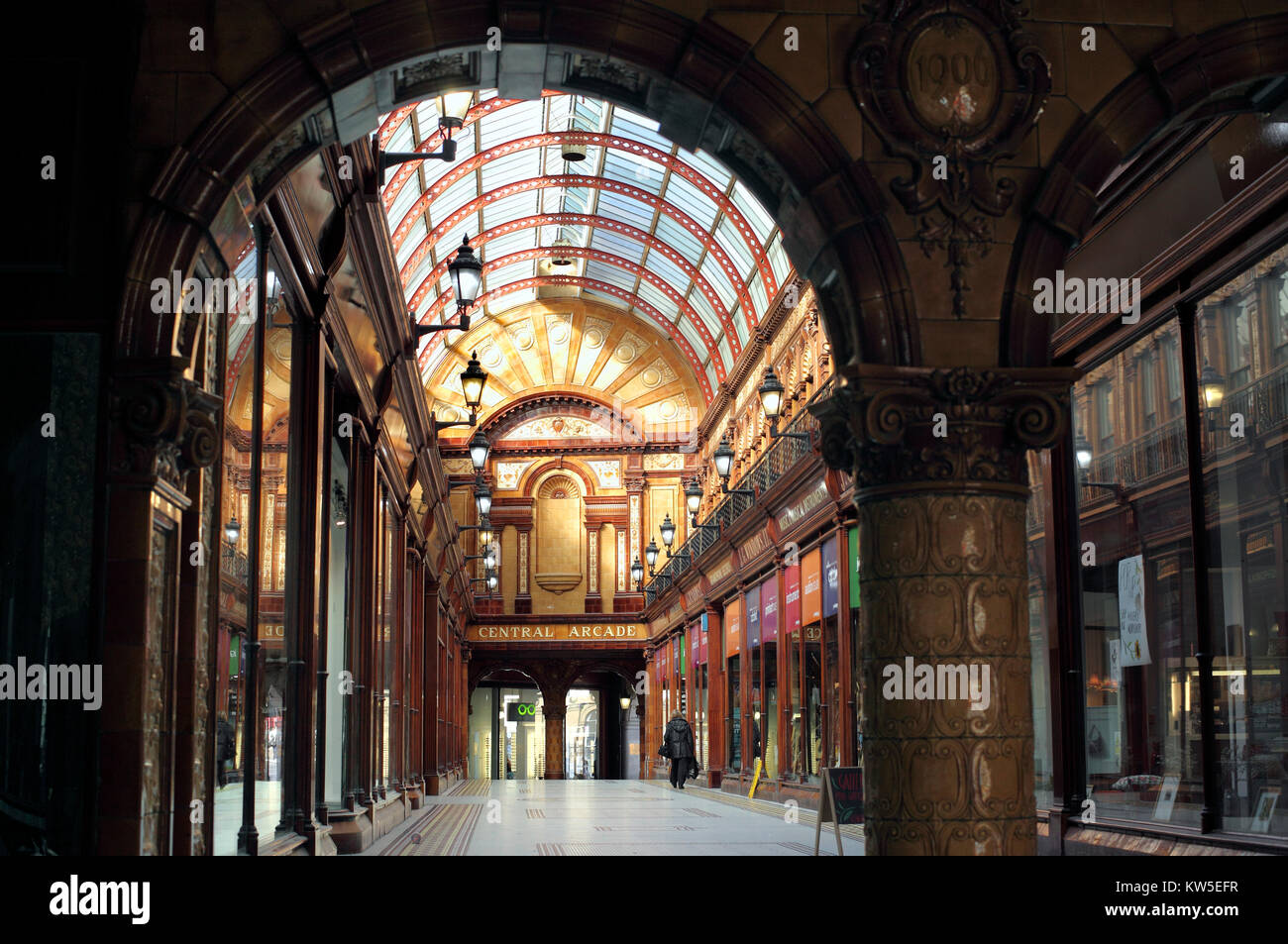 Central Arcade, Newcastle upon Tyne. As seen from the Market St entrance. Stock Photo