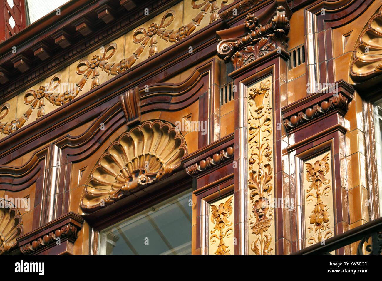 Close up of ornate and bizarre detailing in the Central Arcade, Newcastle upon Tyne. - Stock Image