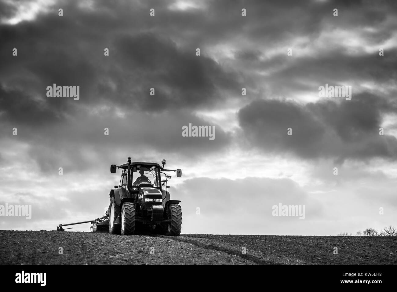 Drilling Barley in the spring, Gloucestershire, UK - Stock Image