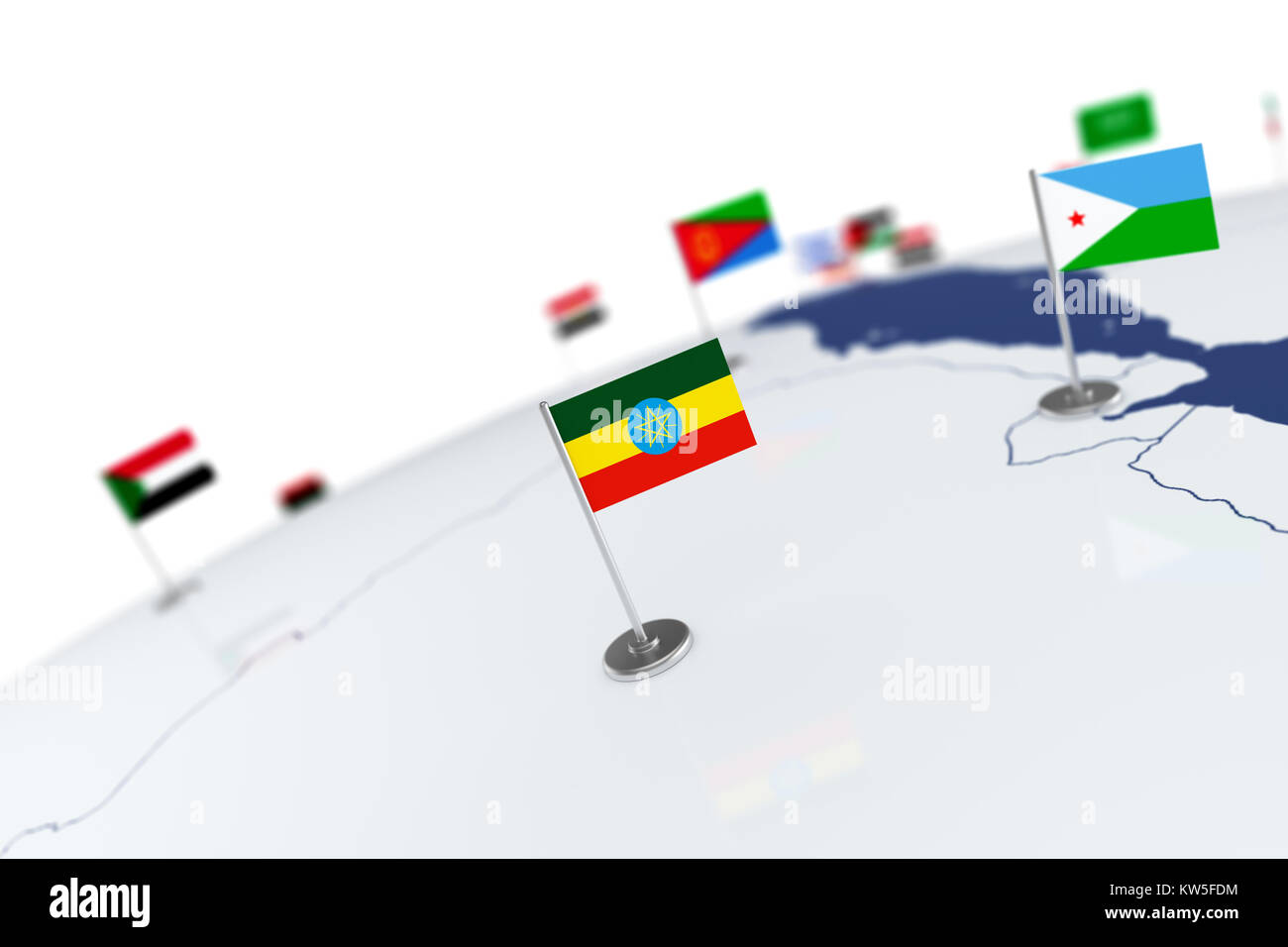 Ethiopia flag country flag with chrome flagpole on the world map ethiopia flag country flag with chrome flagpole on the world map with neighbors countries borders 3d illustration rendering flag gumiabroncs Gallery