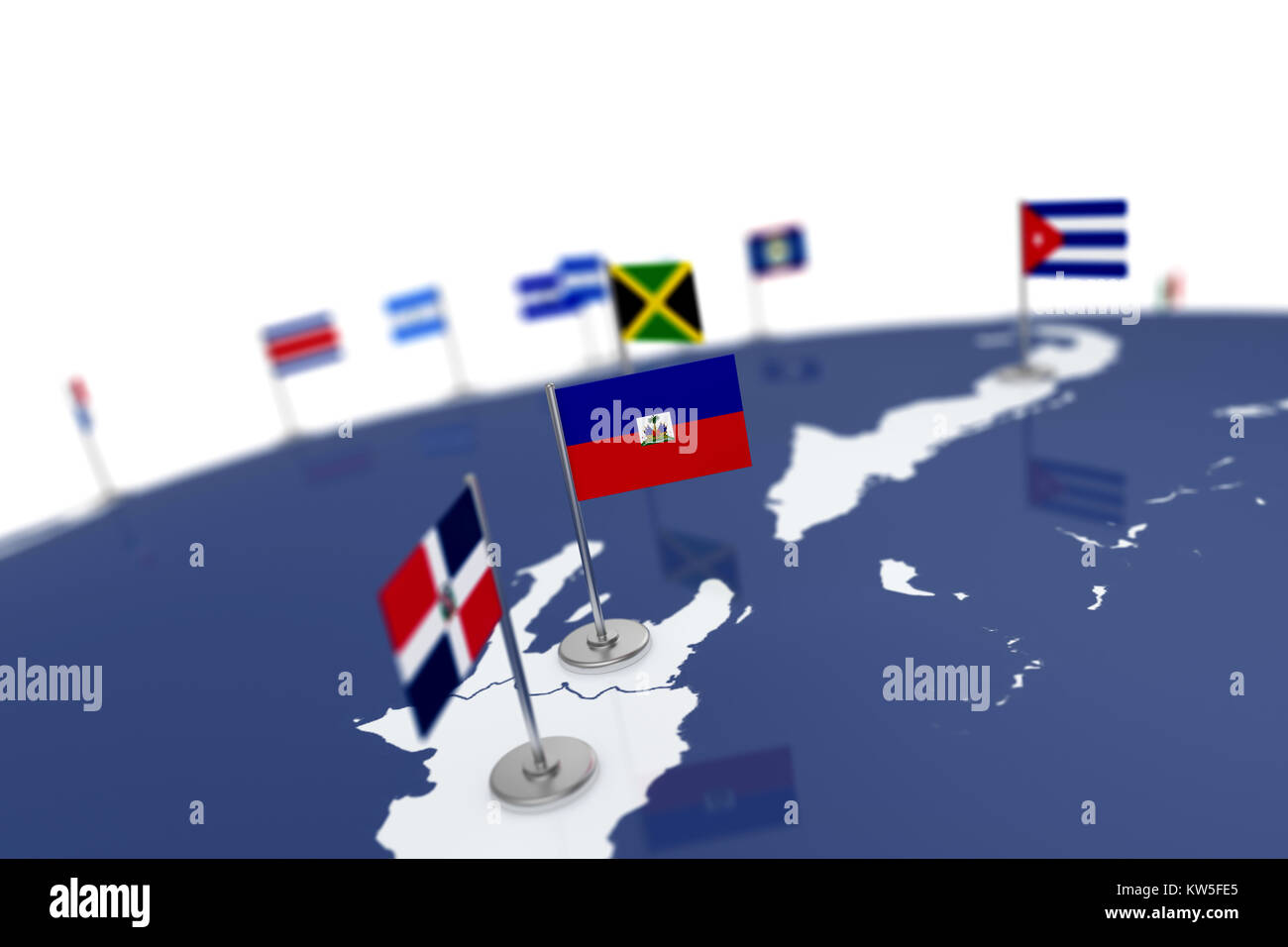 Haiti flag country flag with chrome flagpole on the world map with haiti flag country flag with chrome flagpole on the world map with neighbors countries borders 3d illustration rendering flag gumiabroncs Choice Image