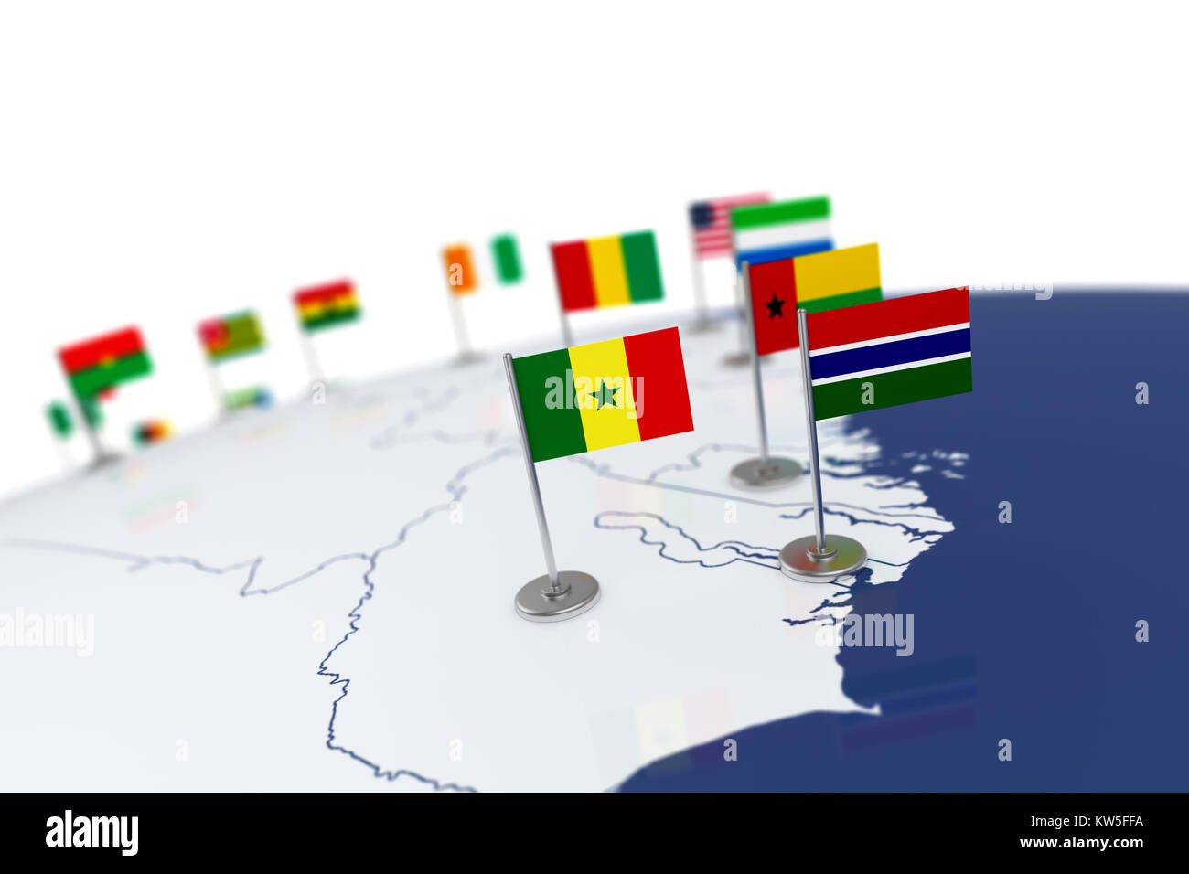 Senegal flag country flag with chrome flagpole on the world map senegal flag country flag with chrome flagpole on the world map with neighbors countries borders 3d illustration rendering flag gumiabroncs Choice Image