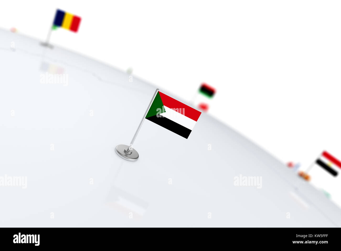 Sudan flag country flag with chrome flagpole on the world map with sudan flag country flag with chrome flagpole on the world map with neighbors countries borders 3d illustration rendering flag gumiabroncs Choice Image