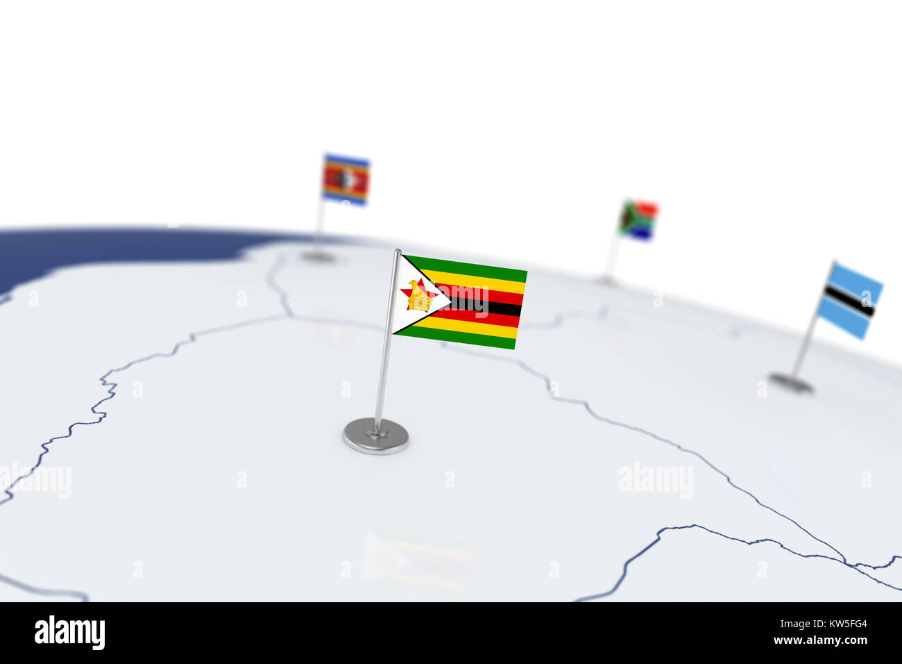 Zimbabwe flag country flag with chrome flagpole on the world map zimbabwe flag country flag with chrome flagpole on the world map with neighbors countries borders 3d illustration rendering flag gumiabroncs Gallery