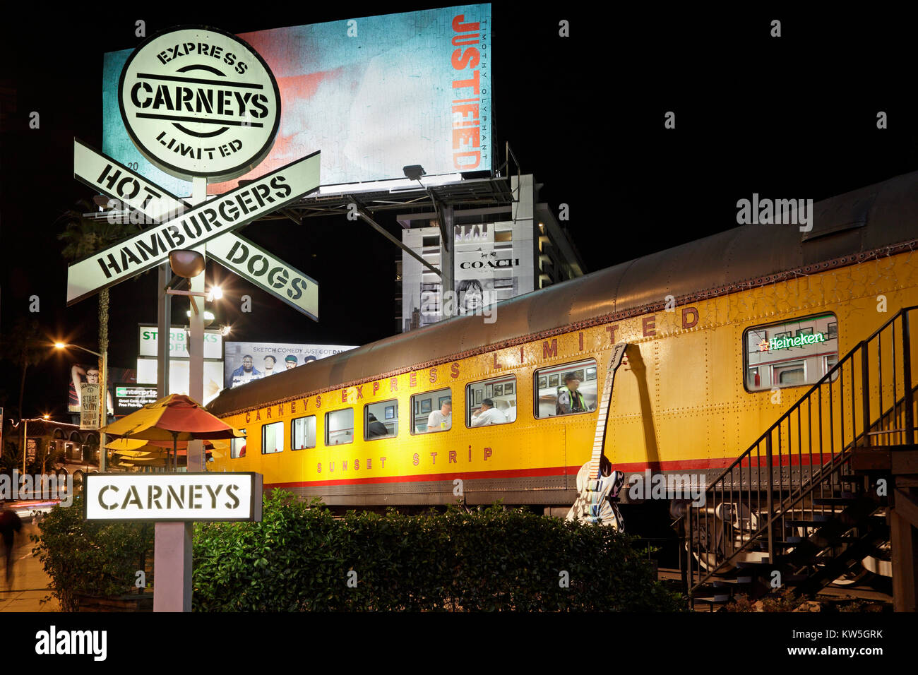Carneys Express Limited Hot Dogs and Hamburger diner on the Sunset Strip, Los Angeles, California - Stock Image