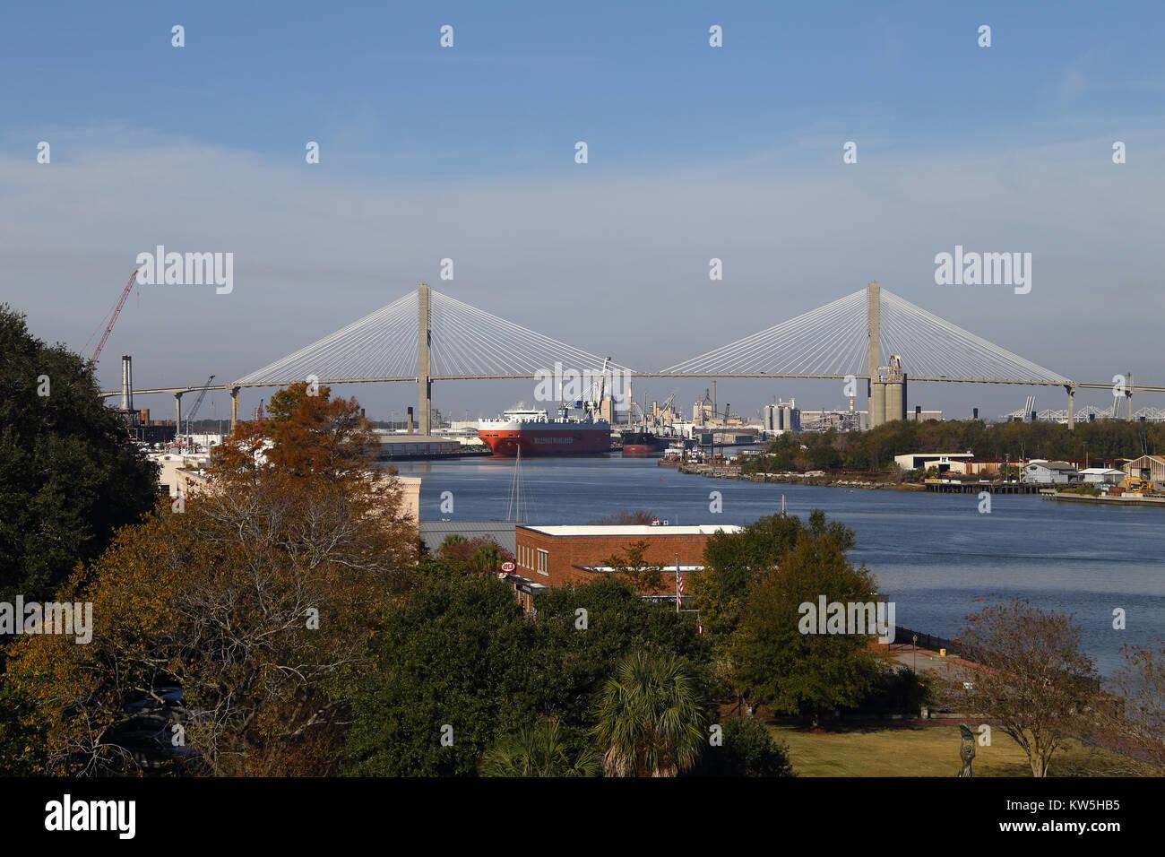 View of the port of Savannah Georgia and Talmadge Memorial bridge. - Stock Image