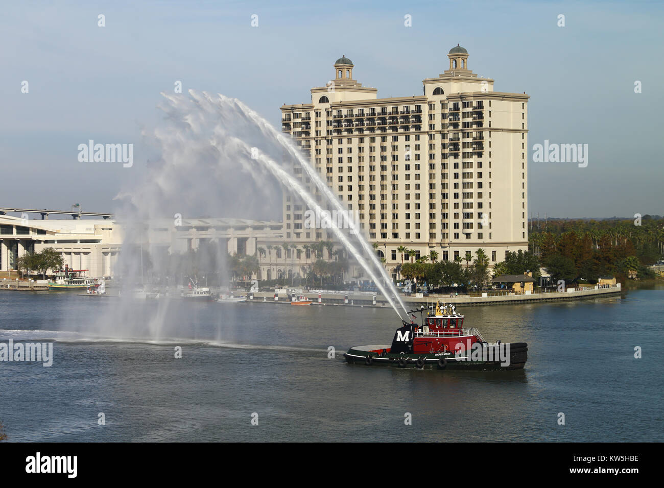 Savannah Georgia Waterfront and Fire Boat - Stock Image