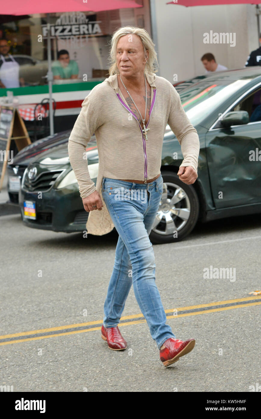 Mickey Rourke Wears Red Cowboy Boots To Get A Haircut At Giuseppe