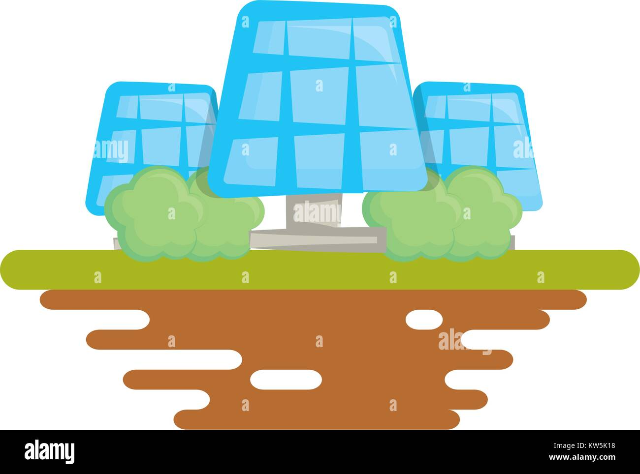 Solar panels on ground cartoon - Stock Vector