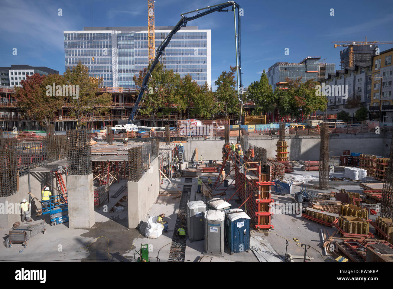 Construction site in the South Lake Union neighborhood of Seattle, Washington, USA - Stock Image