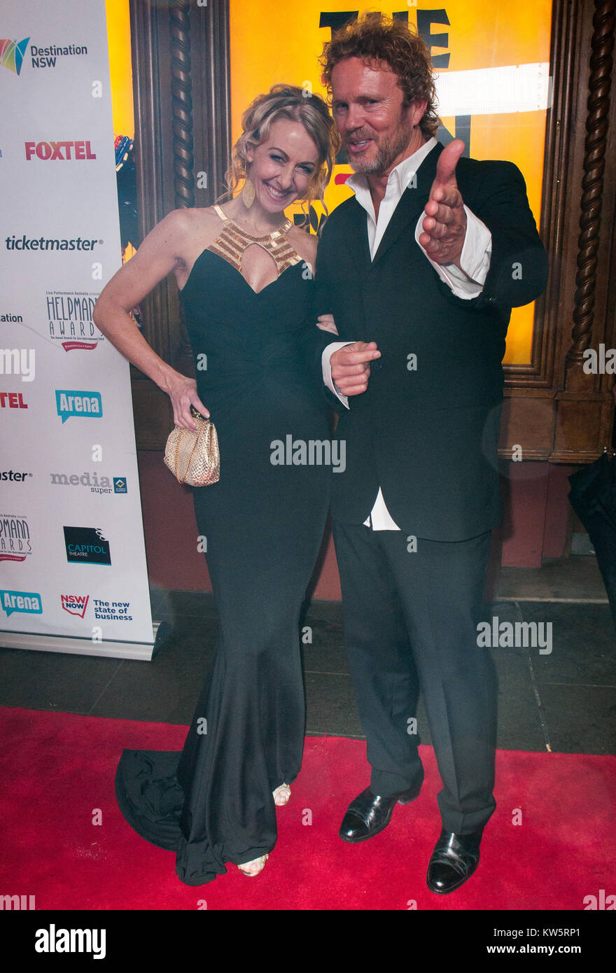 SYDNEY, AUSTRALIA - AUGUST 18: Craig McLaughlan and Vanessa Scammell arrives at the 2014 Helpmann Awards at the - Stock Image