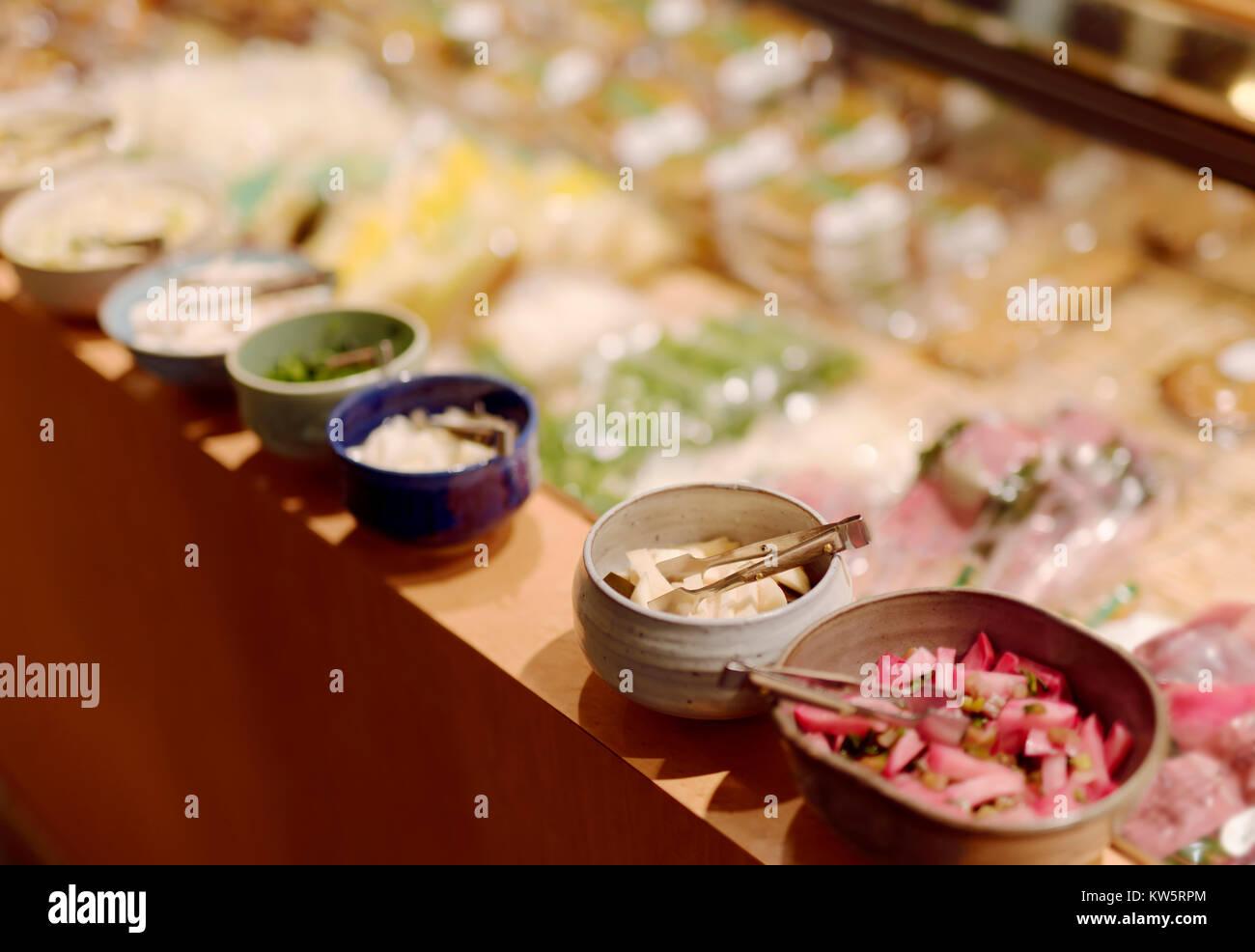 Japanese pickled radish Tsukemono food samples on store display in Kyoto, Japan - Stock Image