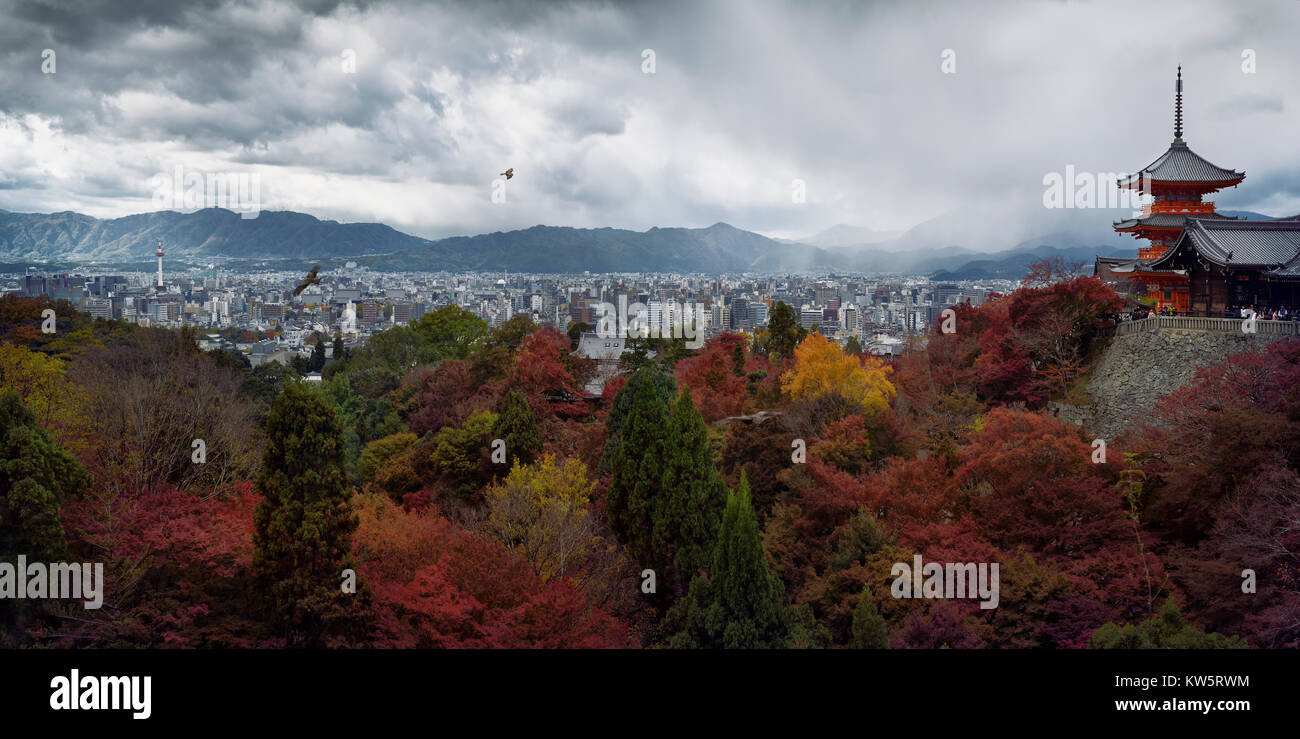 Dramatic panoramic view of Kyoto colorful red autumn scenery view from Kiyomizu-dera, Sanjunoto pagoda and Kyoto - Stock Image