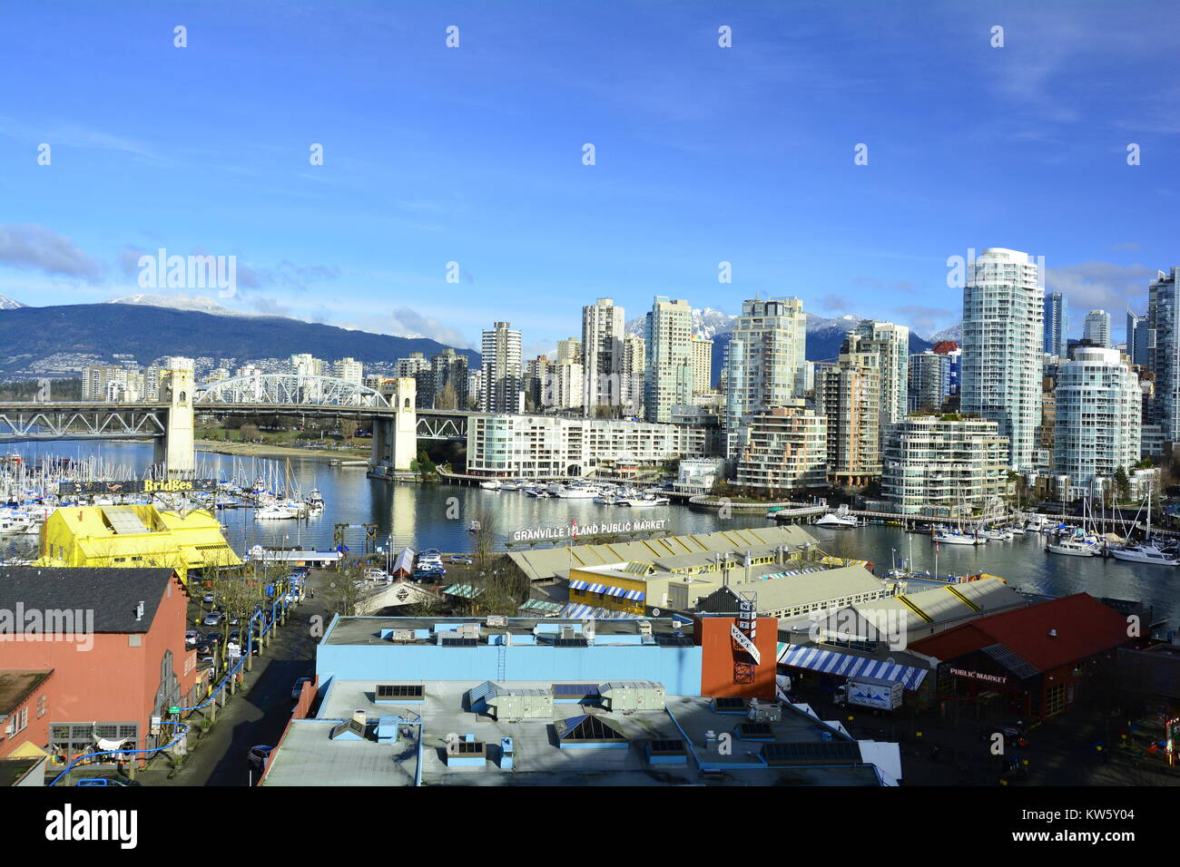 The high rises skyline of False Creek in Vancouver Canada,and Granville Island. Stock Photo