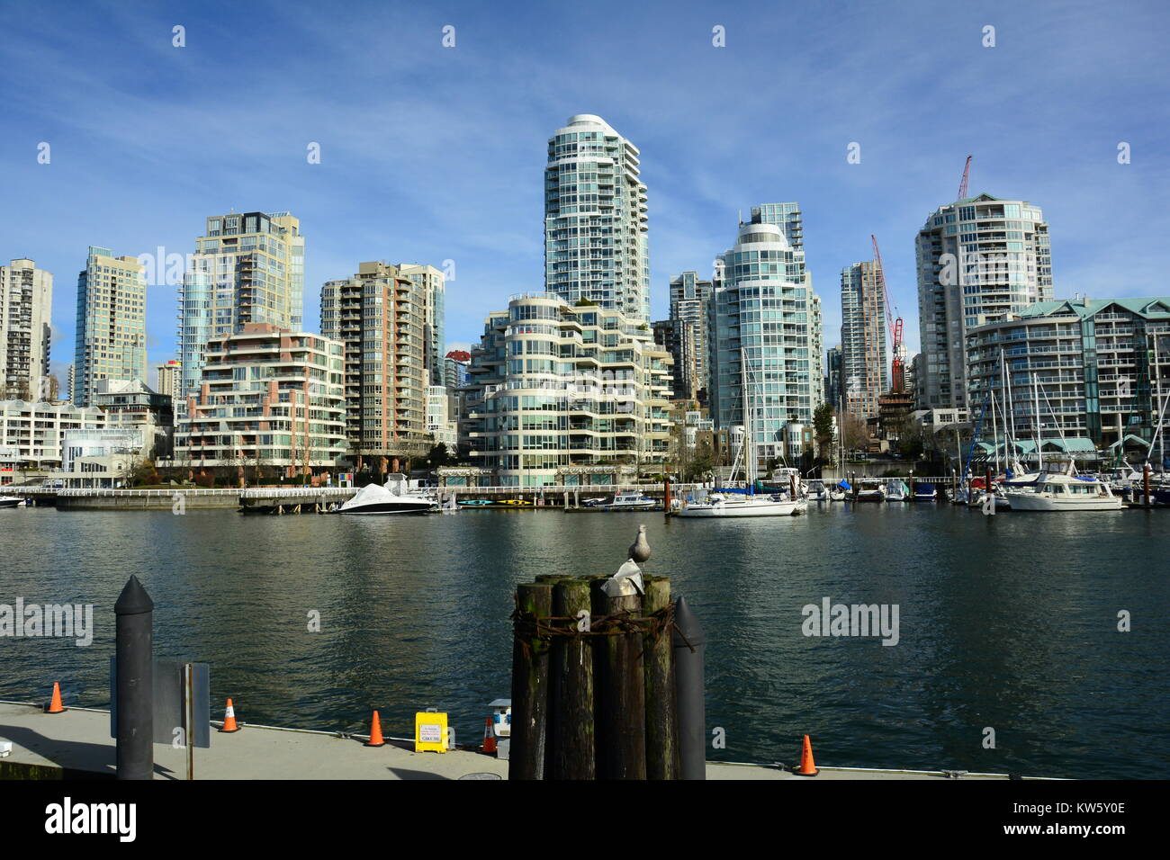 Vancouver BC skyline along with False Creek and Granville Island. Stock Photo