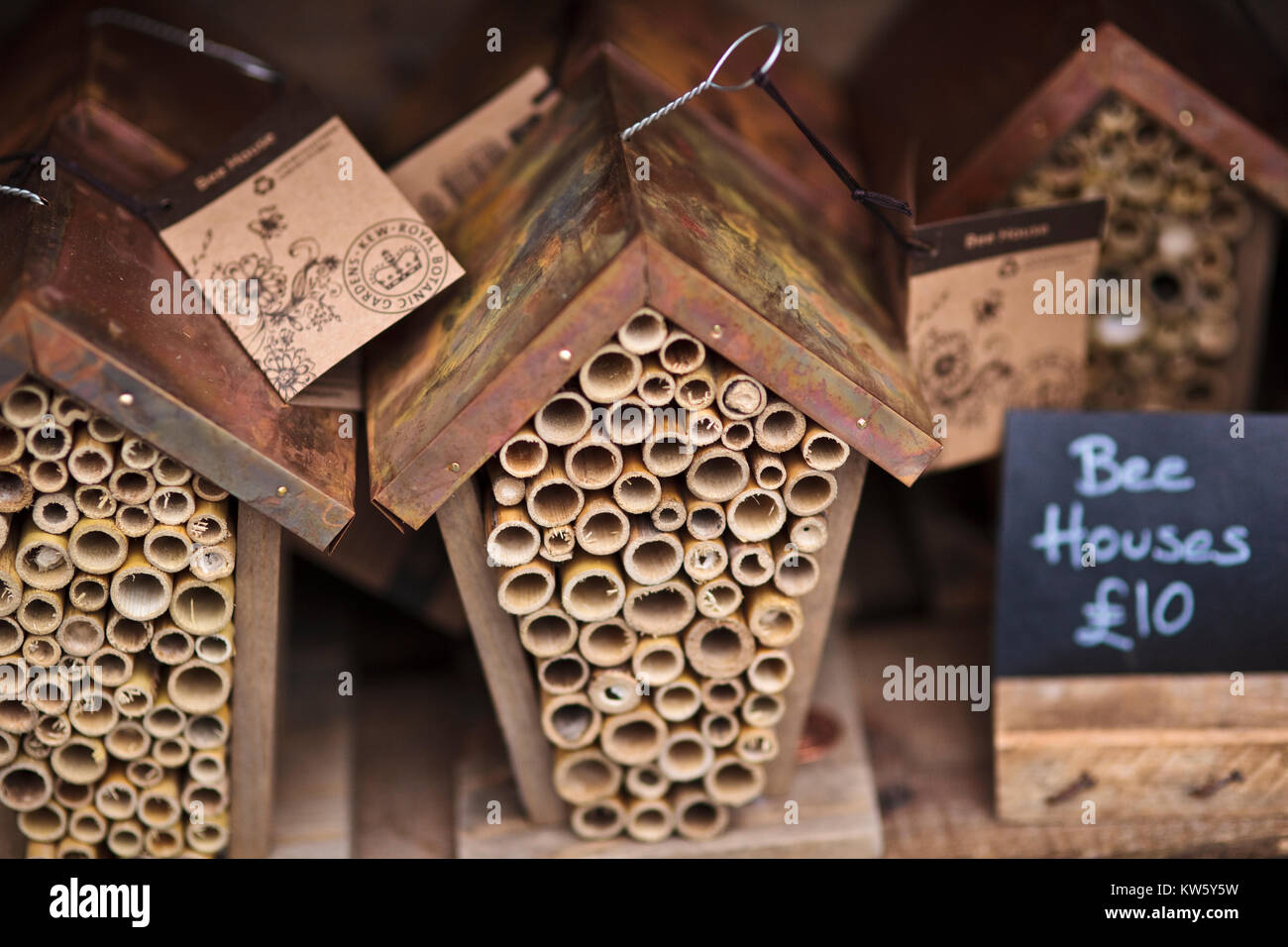 New garden insect shelters for sale at a market stall, UK - Stock Image
