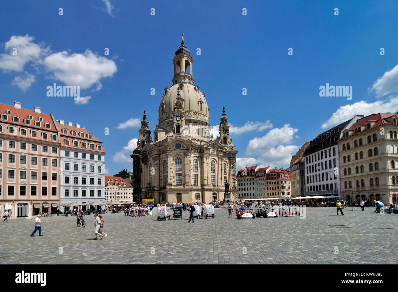New market with Church of Our Lady, Dresden, Neumarkt mit Frauenkirche Stock Photo