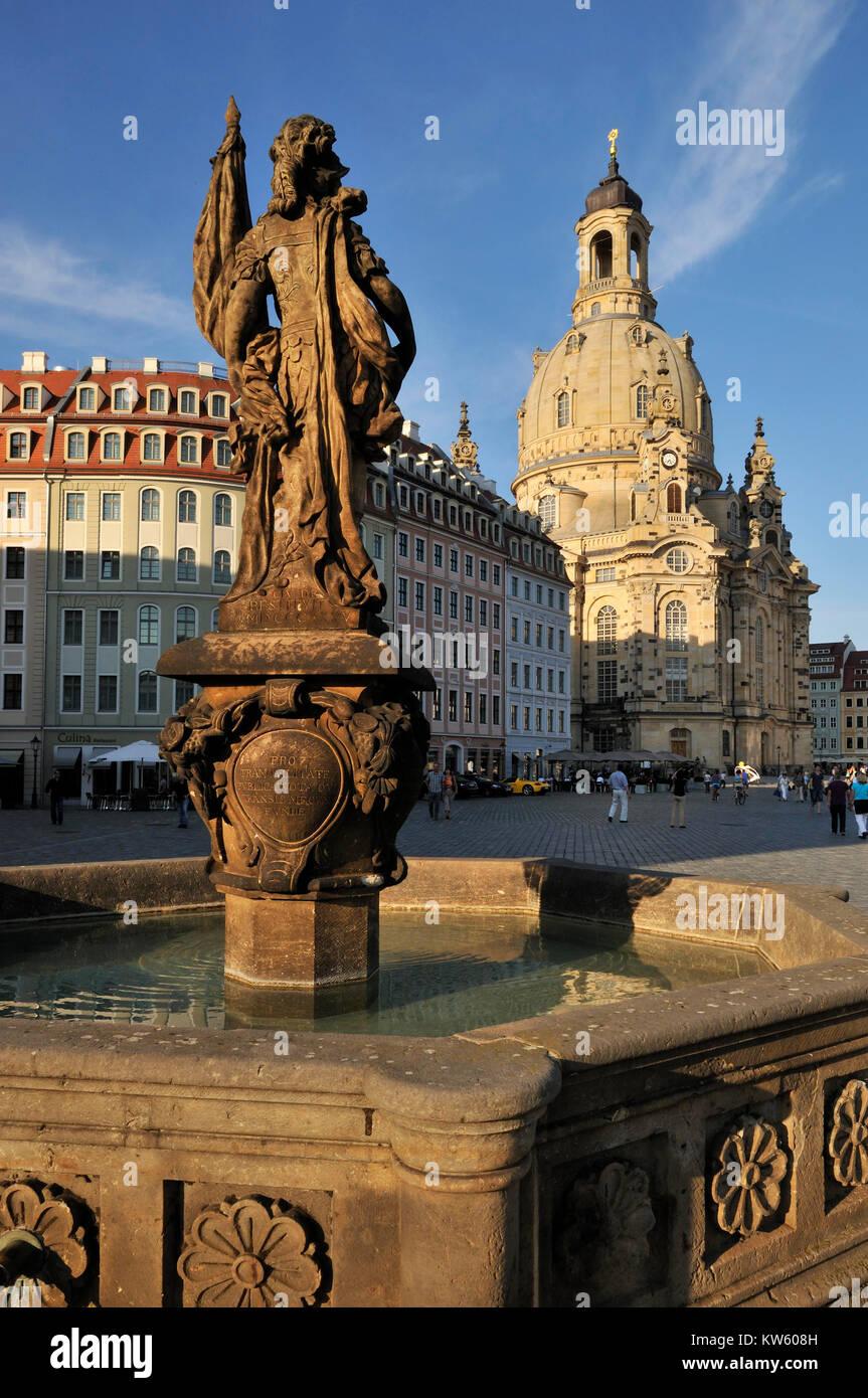 Turk's wells and Church of Our Lady, Dresden, Tuerkenbrunnen und Frauenkirche - Stock Image