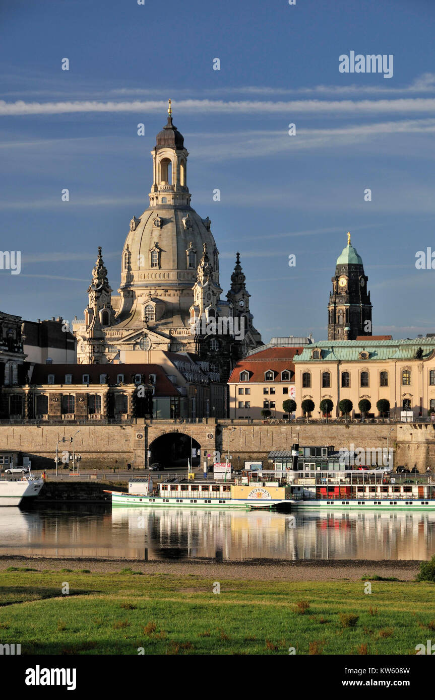 Church of Our Lady and city hall tower, Dresden, Frauenkirche und Rathausturm - Stock Image