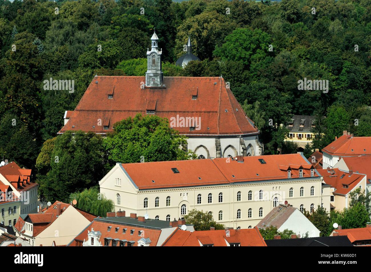 Nikolaischule and Nikolaikirche, G?rlitz Old Town, Nikolaischule und Nikolaikirche, Goerlitz Altstadt - Stock Image
