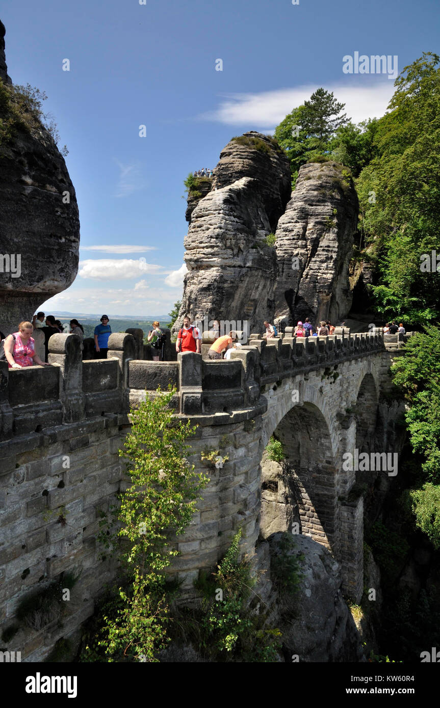 Bastion massif with bastion bridge, Elbsandsteingebirge, Basteimassiv mit Basteibruecke - Stock Image
