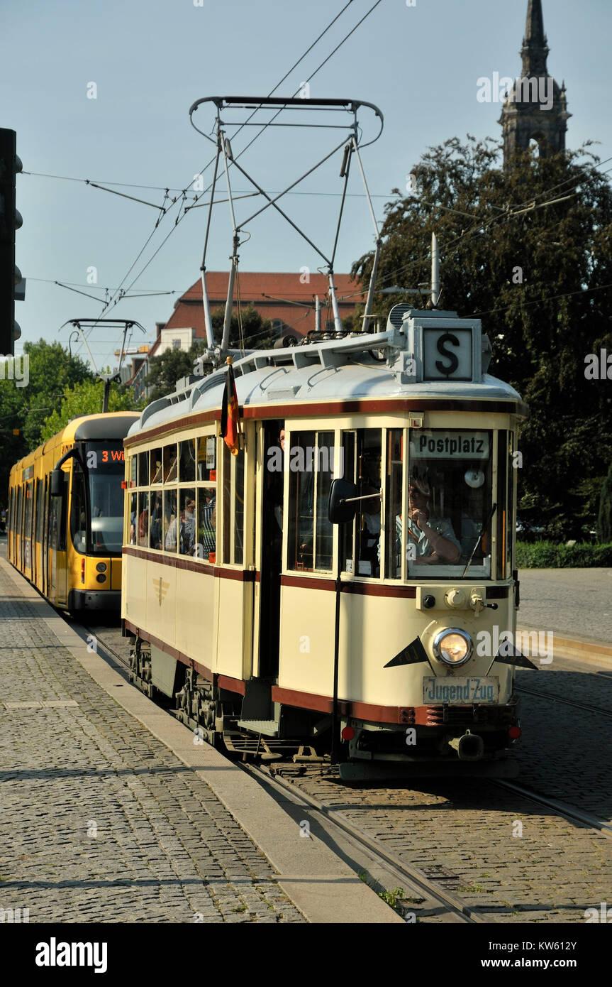Oltimer pike carriage, old-timer streetcar, Oltimer Hechtwagen, Oldtimerstrassenbahn - Stock Image