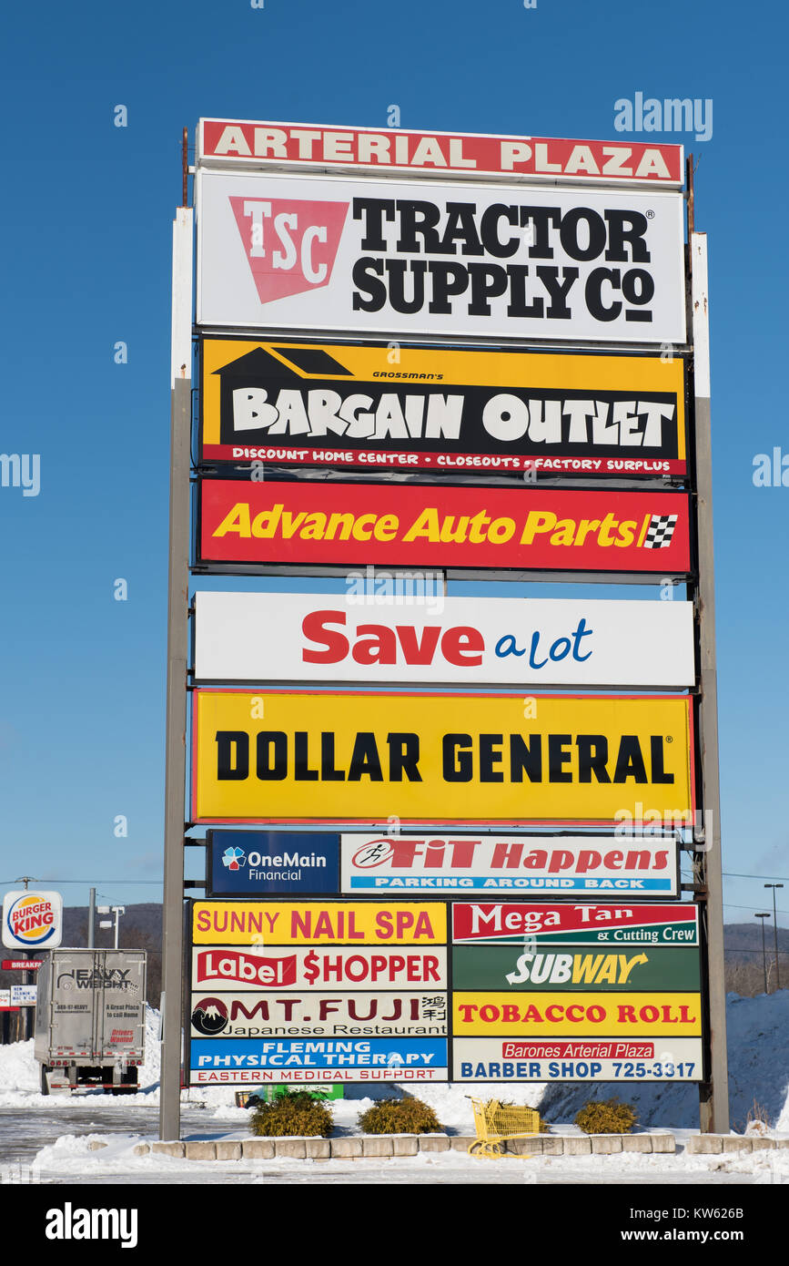 A large directory sign for a strip mall in Gloversville, New York NY USA - Stock Image