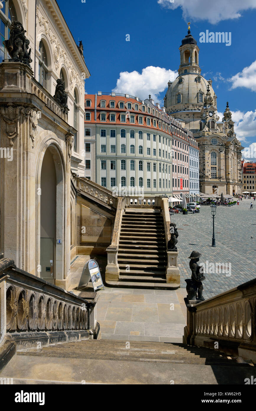 Dresden, Church of Our Lady in the view of the Johanneum, Frauenkirche in der Ansicht vom Johanneum - Stock Image