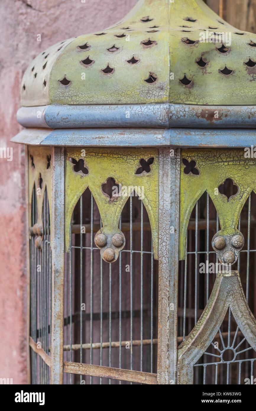 A metal decorative antique bird cage, up-close Stock Photo