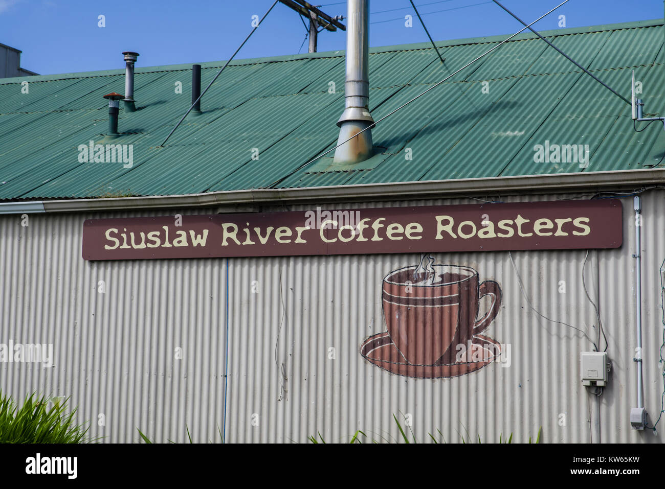 Siuslaw River Coffee Roasters building in FLorence, Oregon, USA - Stock Image