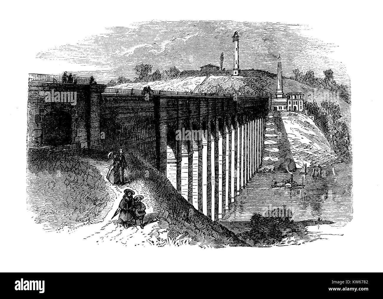 Vintage engraving of High Bridge,originally a stone arch bridge built in 1848 as part of Croton Aqueduct, the oldest - Stock Image