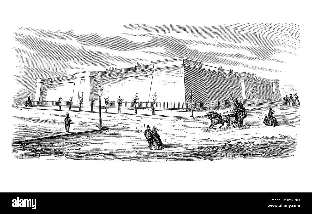 Vintage engraving of the Murray Hill Reservoir providing water to citizens of New York City. Built in 1842 with - Stock Image