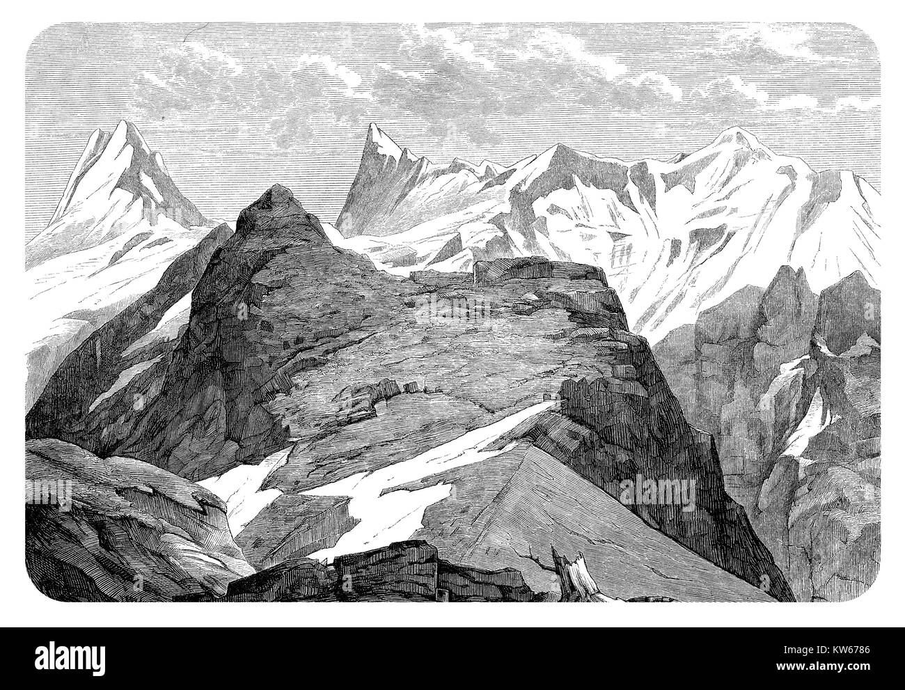 Vintage engraving of the Finsteraarhorn glacier in the Bernese Alps, the highest mountain of Switzerland - Stock Image