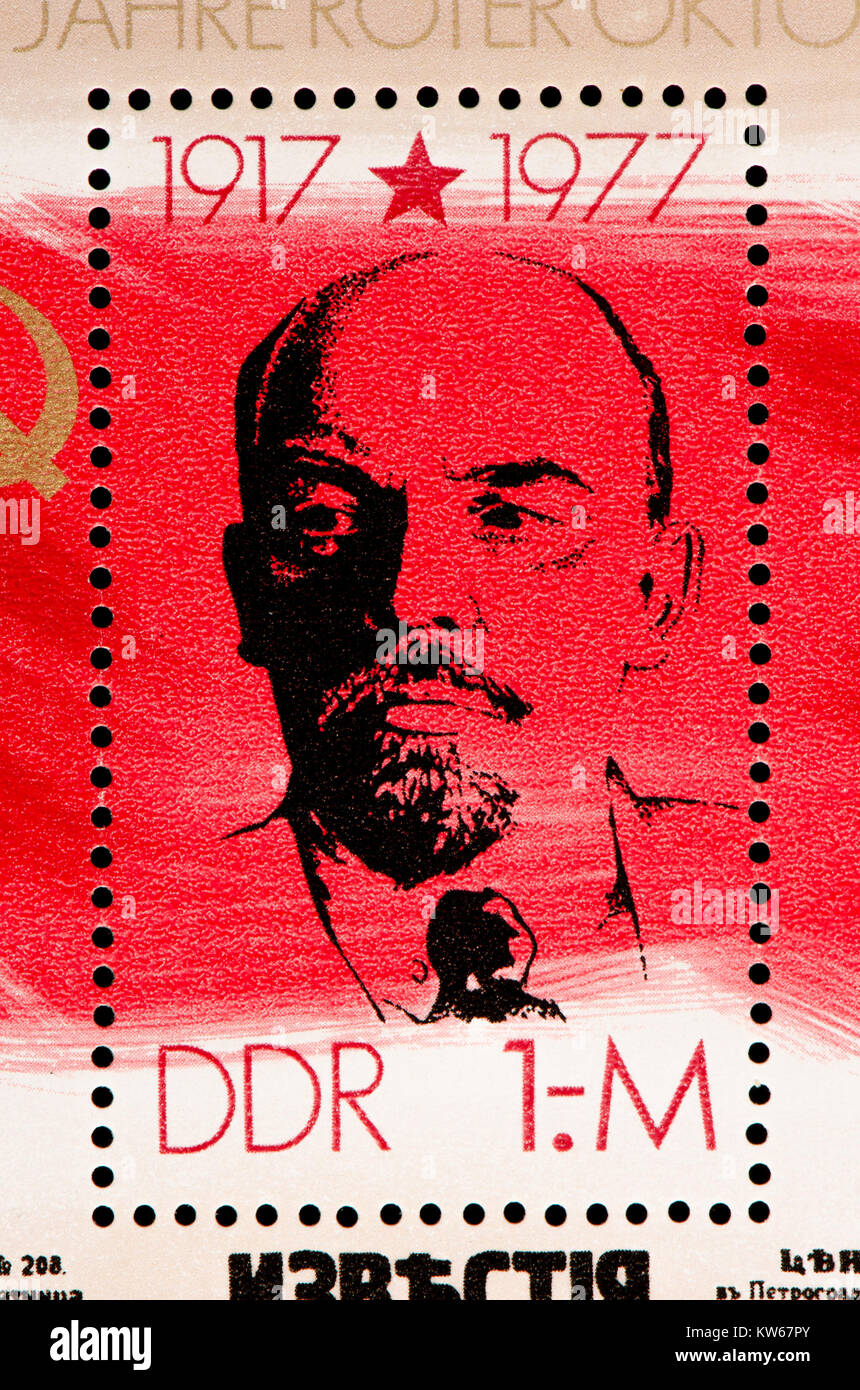 East German (DDR) postage stamp (1977): 60th anniversary of the October Revolution / Red October - Lenin - Stock Image