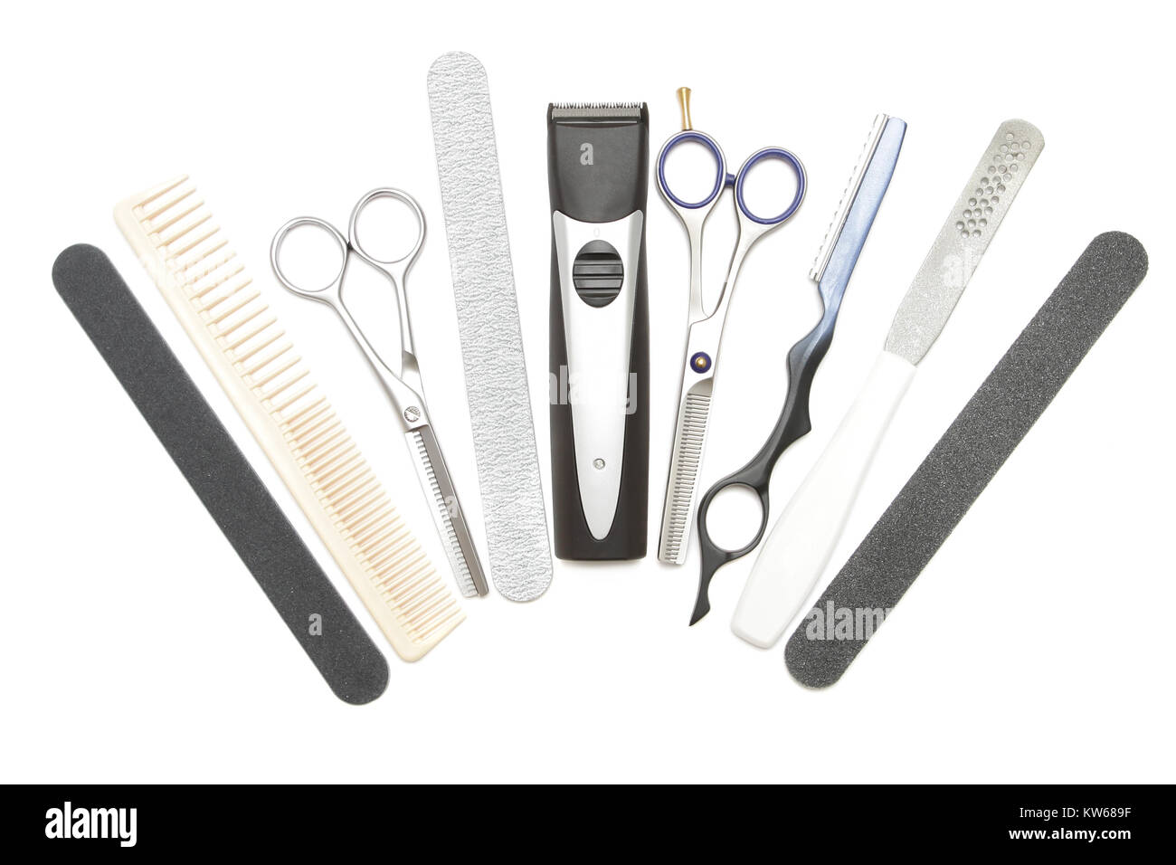 Professional hairdressing, manicure and pedicure tools. Comb, clip, file, scissor, clippers, tweezer and hair trimmer Stock Photo