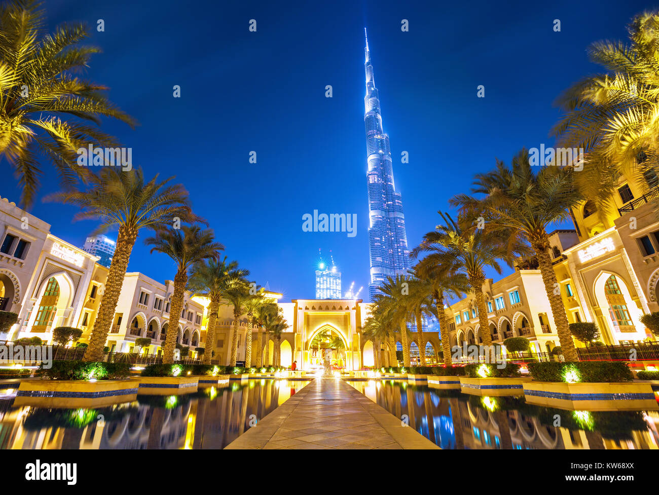 Burj Khalifa(828m) in Dubai downtown, United Arab Emirates Stock Photo