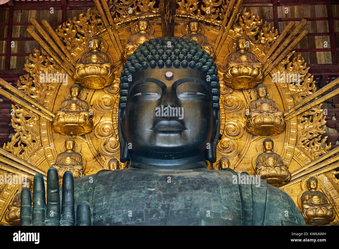 Japan, Honshu island, Kansai region, Nara, UNESCO wolrd heritage site, Todaiji temple, Daibutsu den, the Great Buddha Stock Photo