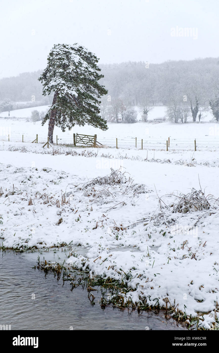 The Chilterns in the snow - Stock Image