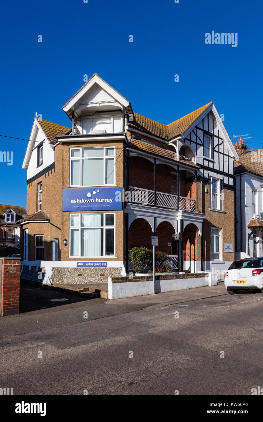 An Accountants office in housing on Wilton Road, Bexhill on Sea, East Sussex, UK - Stock Image